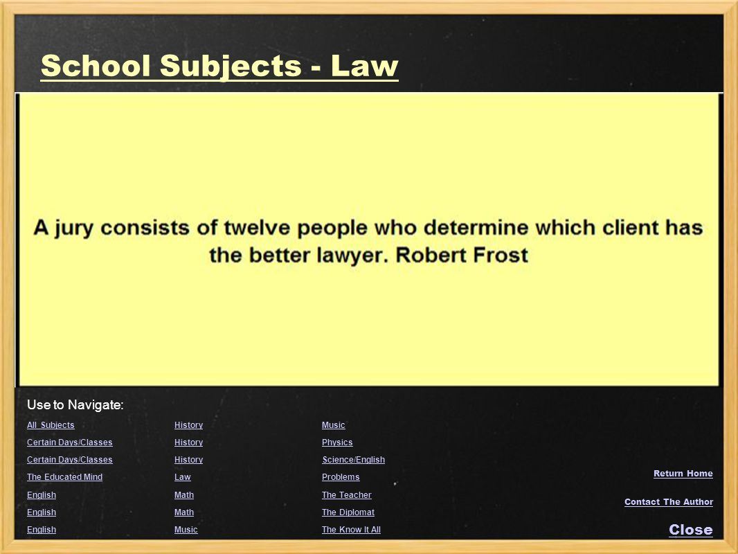 School Subjects - Law Close Use to Navigate: All Subjects History