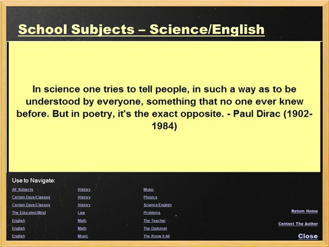 School Subjects – Science/English