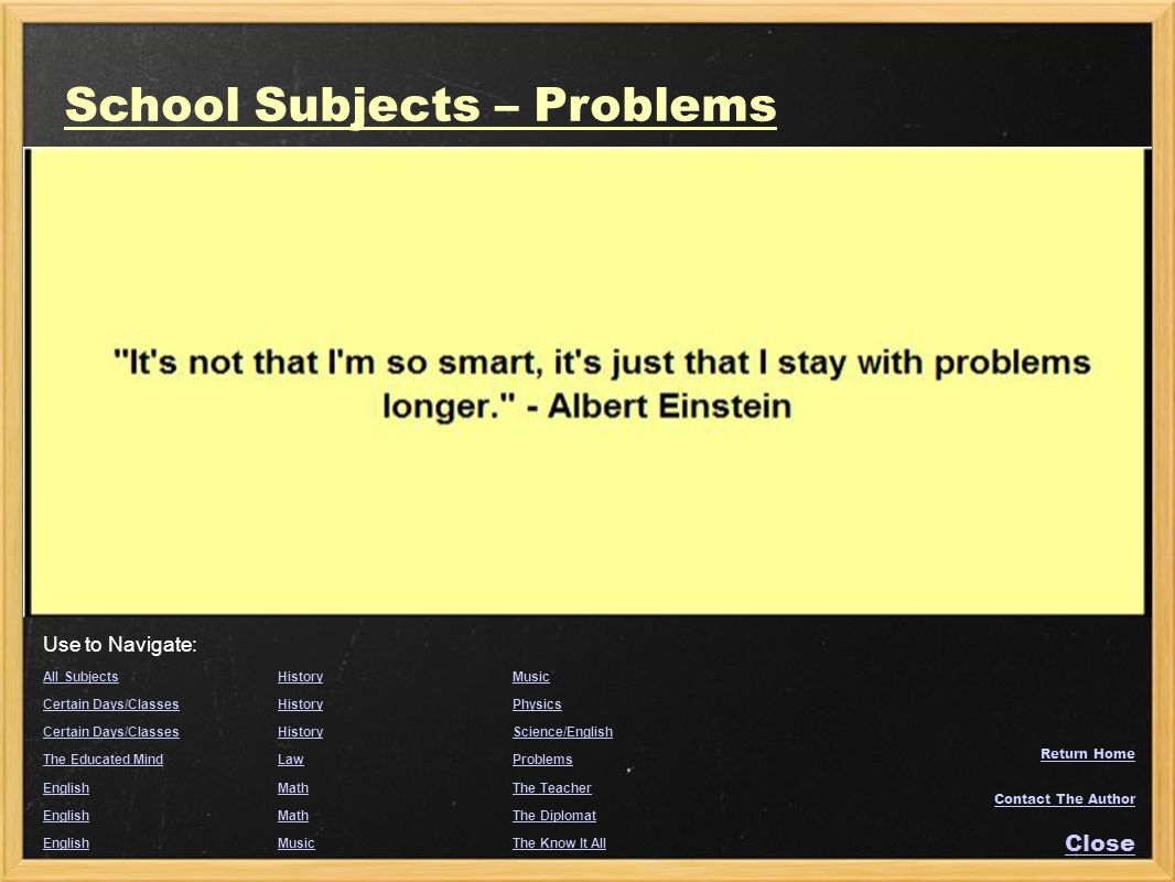 School Subjects – Problems
