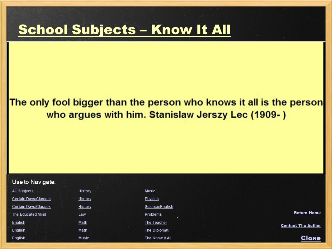 School Subjects – Know It All