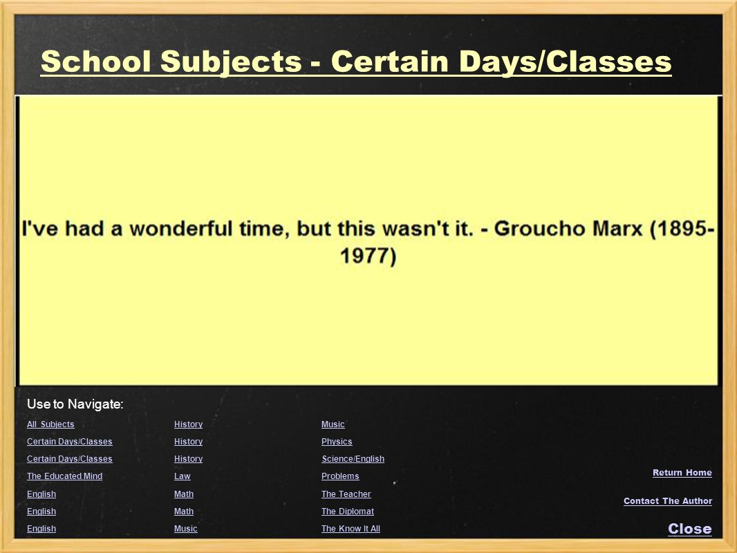 School Subjects - Certain Days/Classes