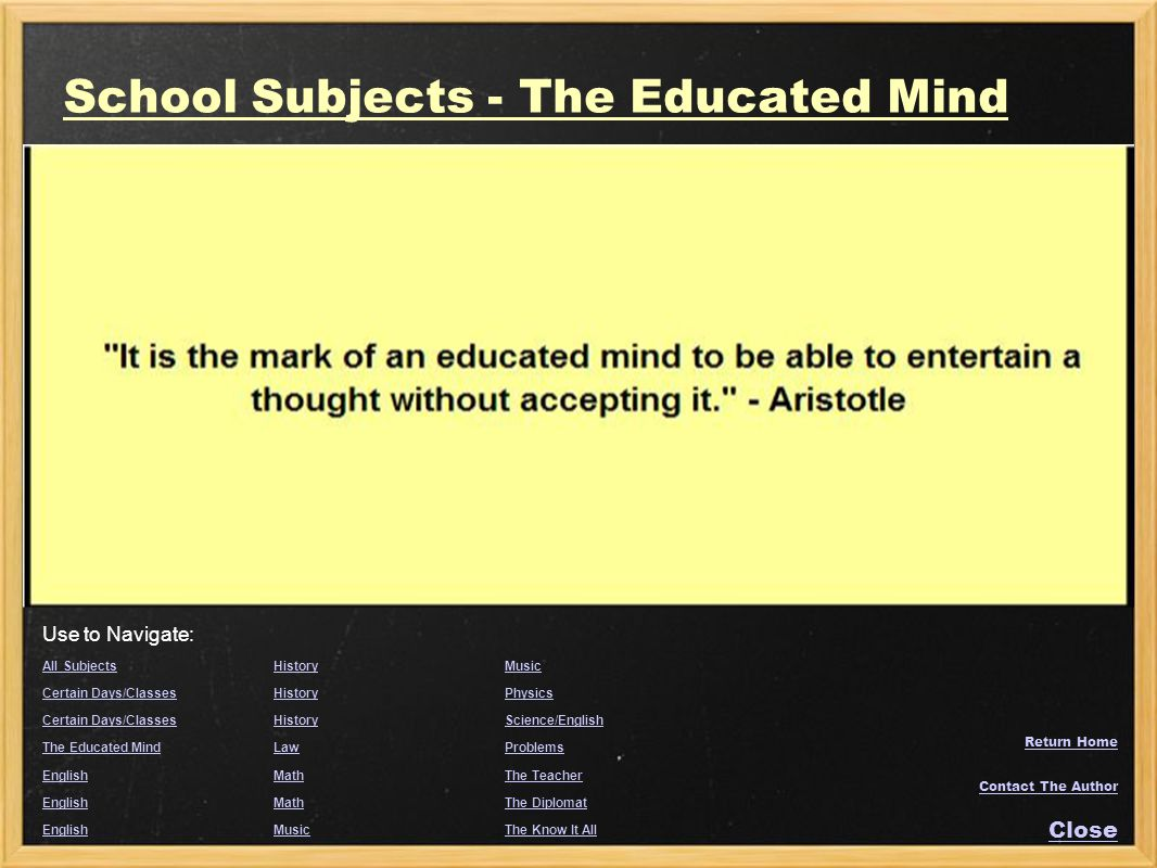 School Subjects - The Educated Mind