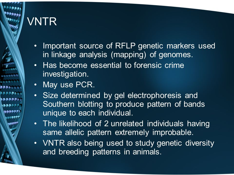 VNTR Important source of RFLP genetic markers used in linkage analysis (mapping) of genomes. Has become essential to forensic crime investigation.