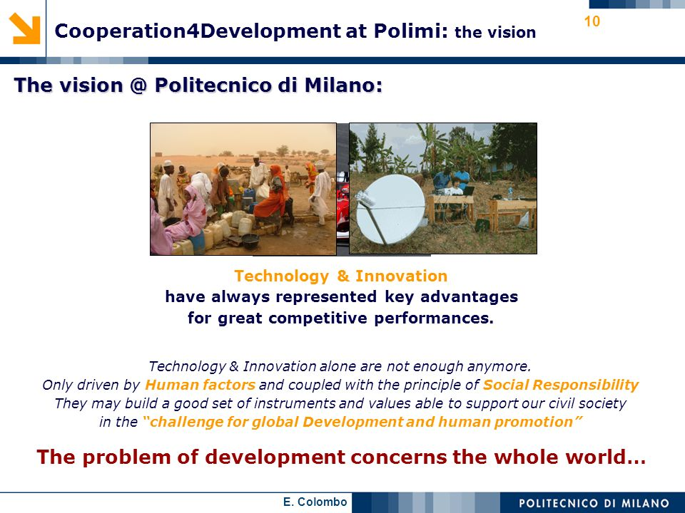 Cooperation4Development at Polimi: the vision