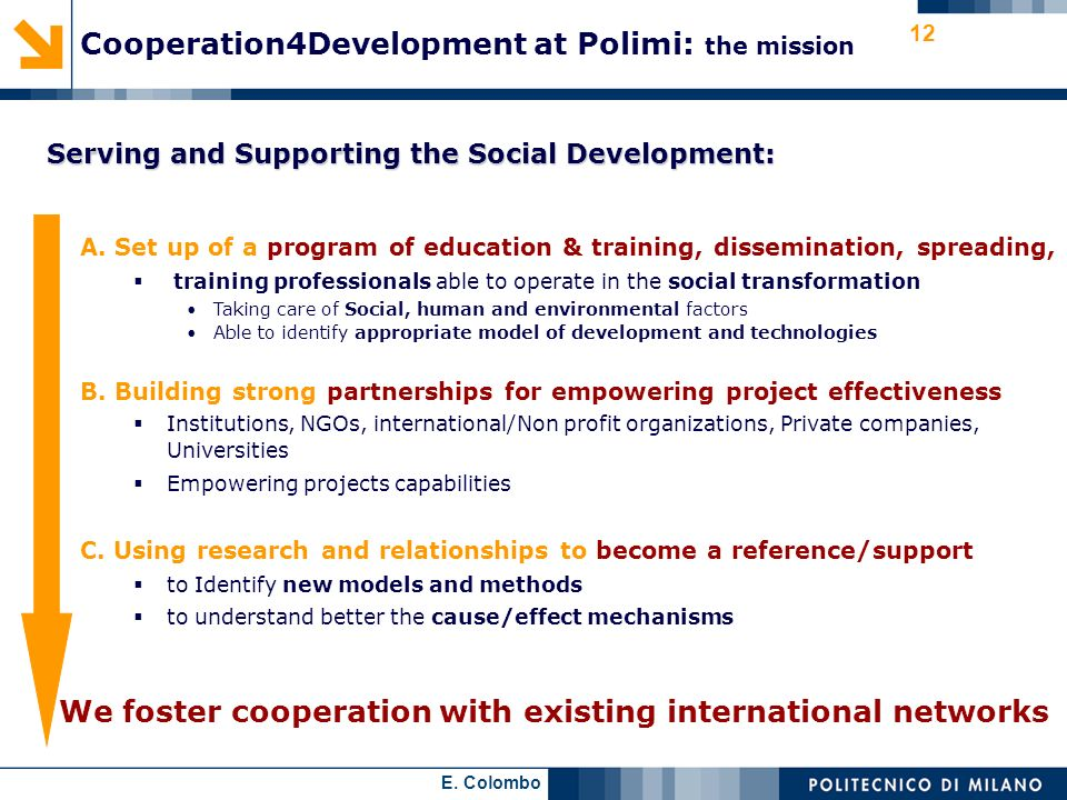 Cooperation4Development at Polimi: the mission