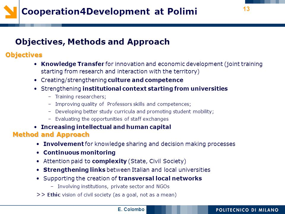 Cooperation4Development at Polimi