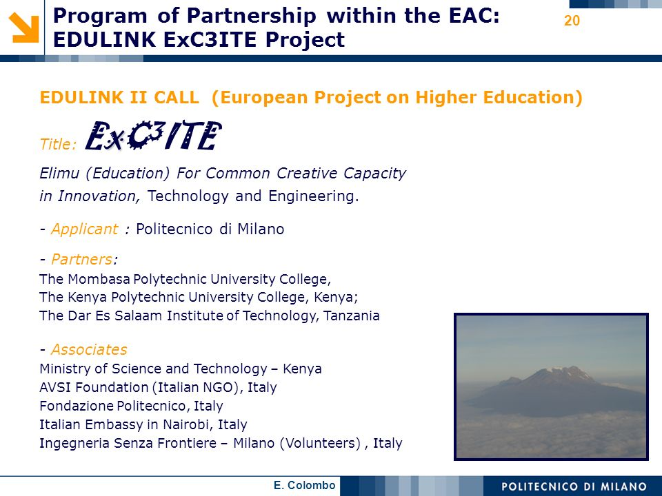 Program of Partnership within the EAC: EDULINK ExC3ITE Project
