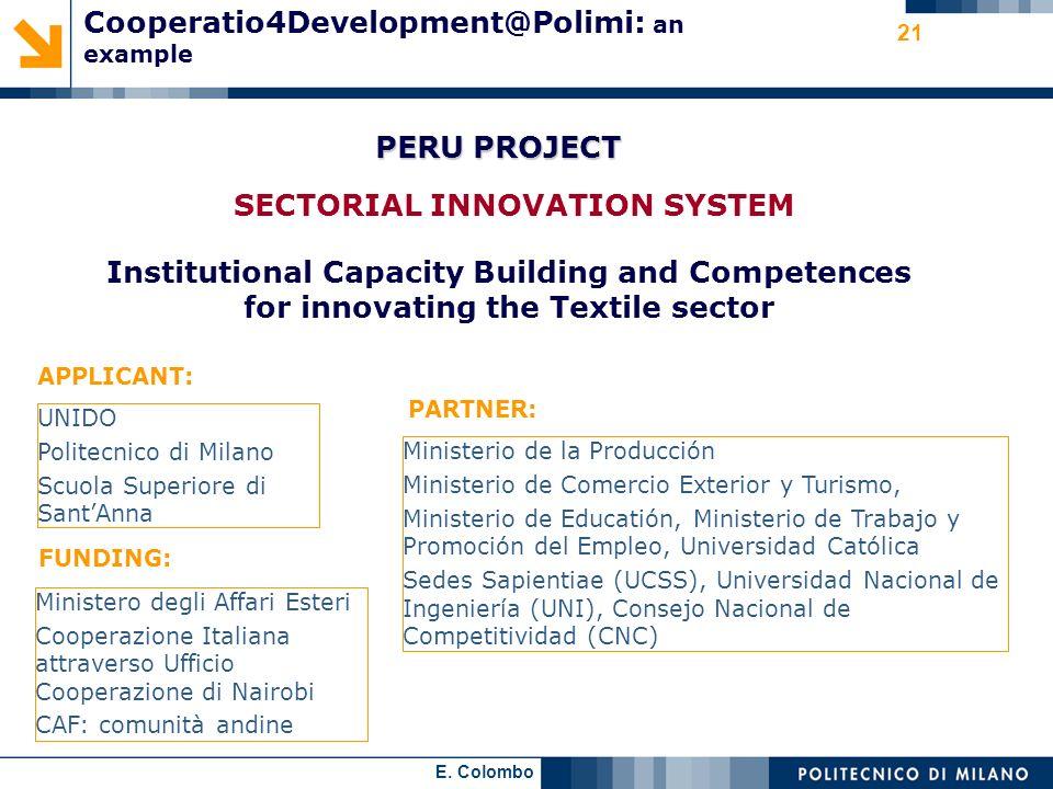 Cooperatio4Development@Polimi: an example