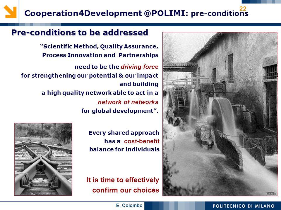Cooperation4Development @POLIMI: pre-conditions