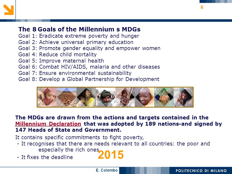 2015 The 8 Goals of the Millennium s MDGs