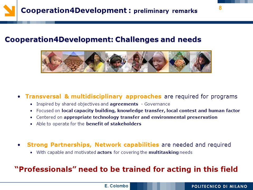 Cooperation4Development : preliminary remarks