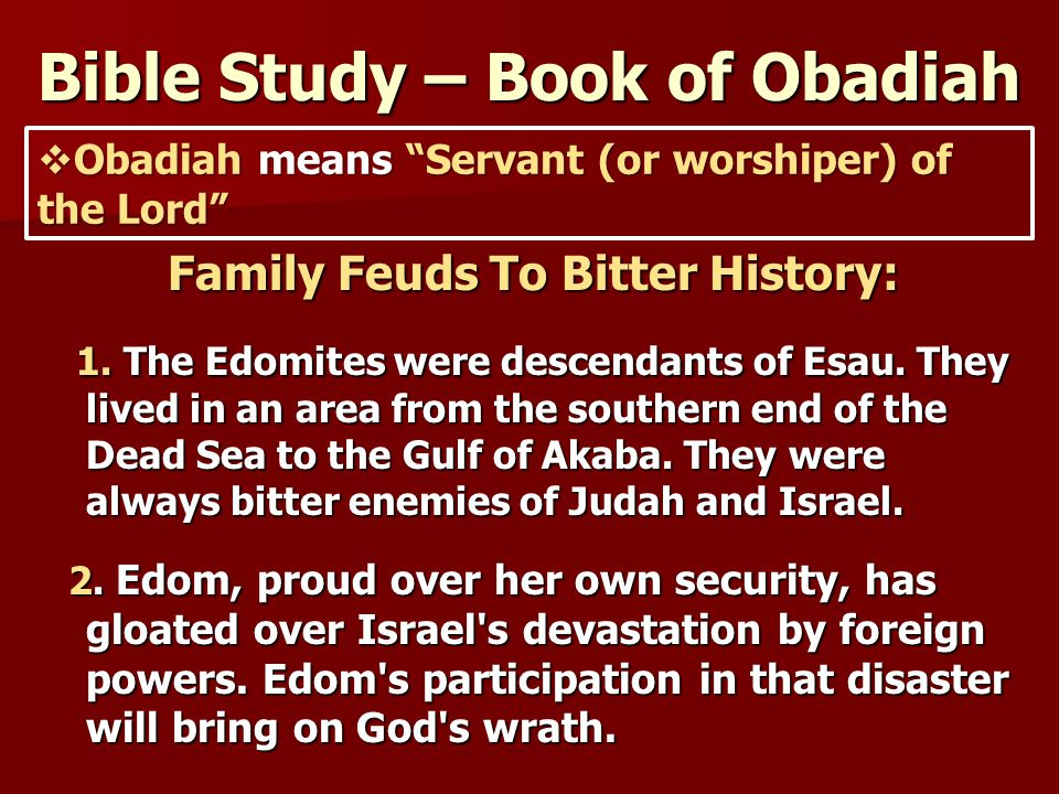 Obadiah Bible Study - Zion-Friedheim Lutheran Church