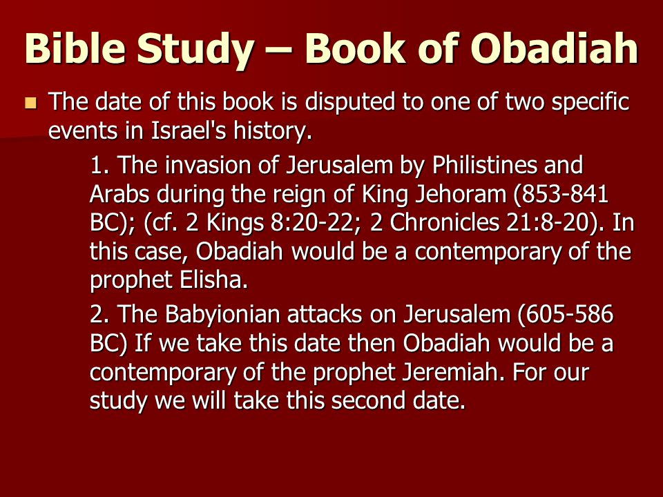 Book of Obadiah - Read, Study Bible Verses Online
