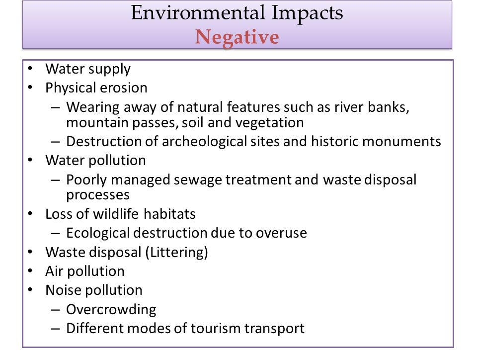 negative socio cultural impact of tourism in kruger national park Kruger national park (knp)  negative, short or long term, local, national or global  method for navigating the immense complexity of tourism impact studies.