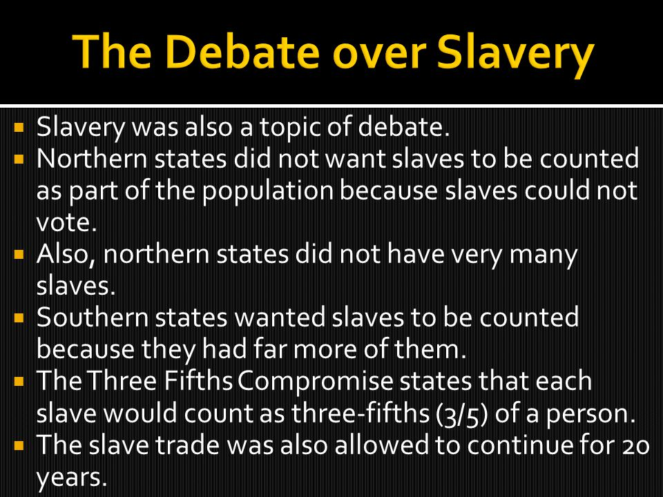 essay on debate over slavery Expansion and slavery the expansion of slavery into new territories and onto the western frontier became a major issue after the mexican-american war southerners fought to assert their rights while many northerners wished to prevent the expansion of slave labor into new states.