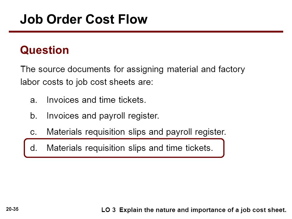 job order cost Job order cost accounting overview a job cost sheet is used to record costs for each job.