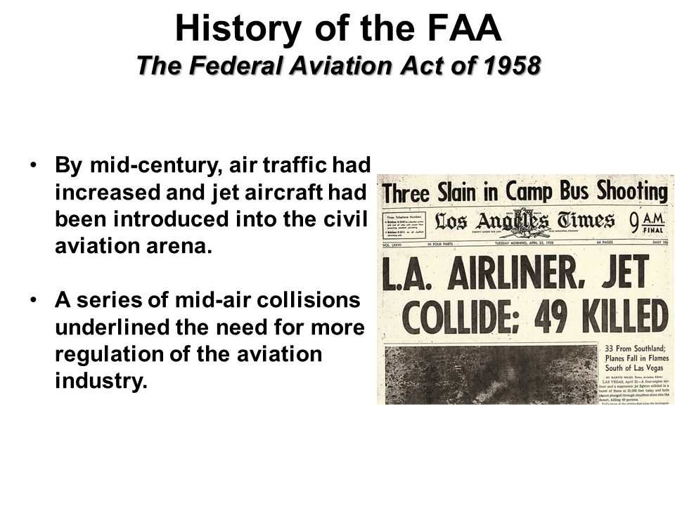 an introduction to the history of the federal aviation regulation The federal aviation regulation sec 2643 - holders of and applicants for type certificates repairs.