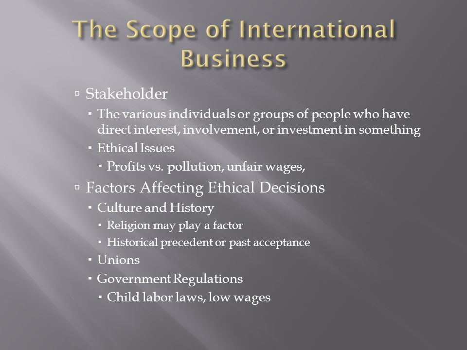 The Scope of International Business