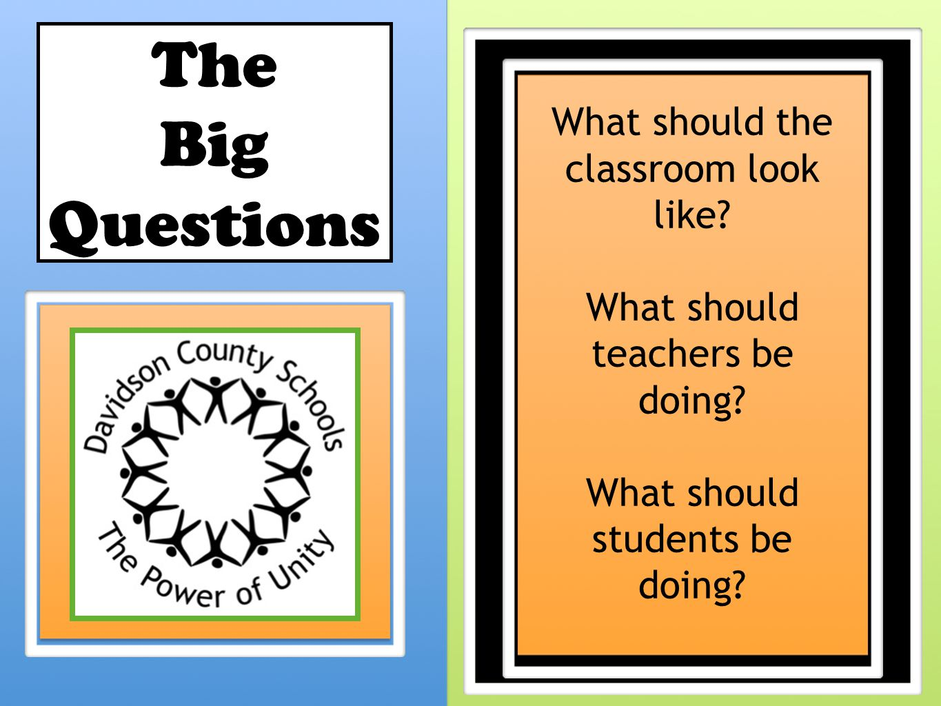 The Big Questions What should the classroom look like