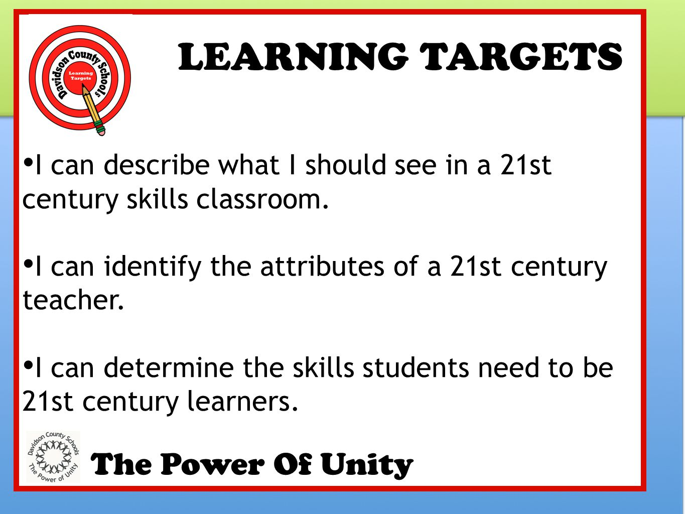 LEARNING TARGETS The Power Of Unity