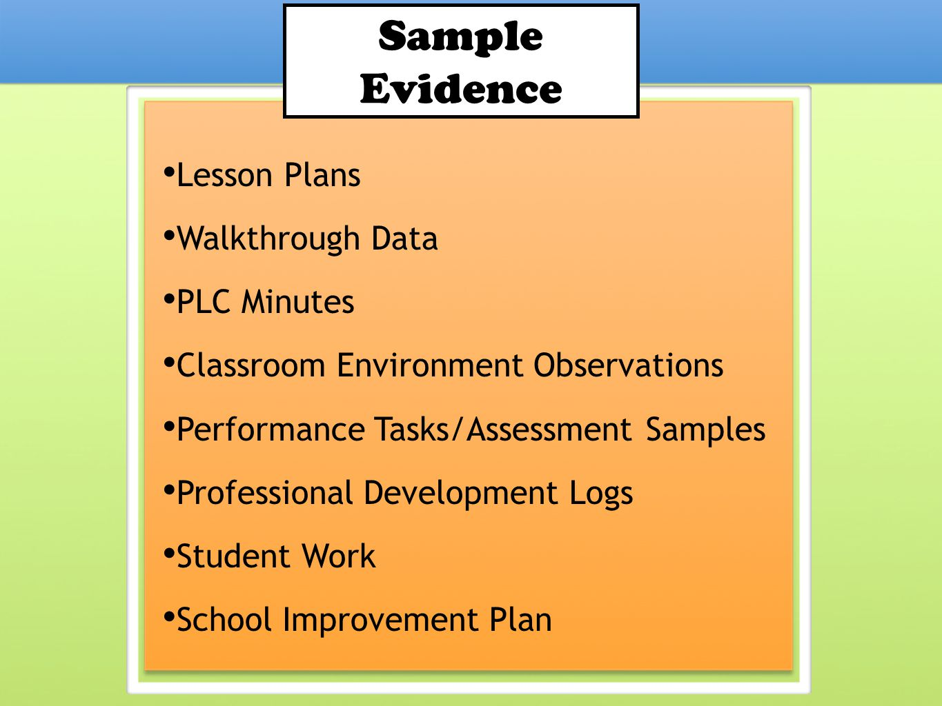 Sample Evidence Lesson Plans Walkthrough Data PLC Minutes