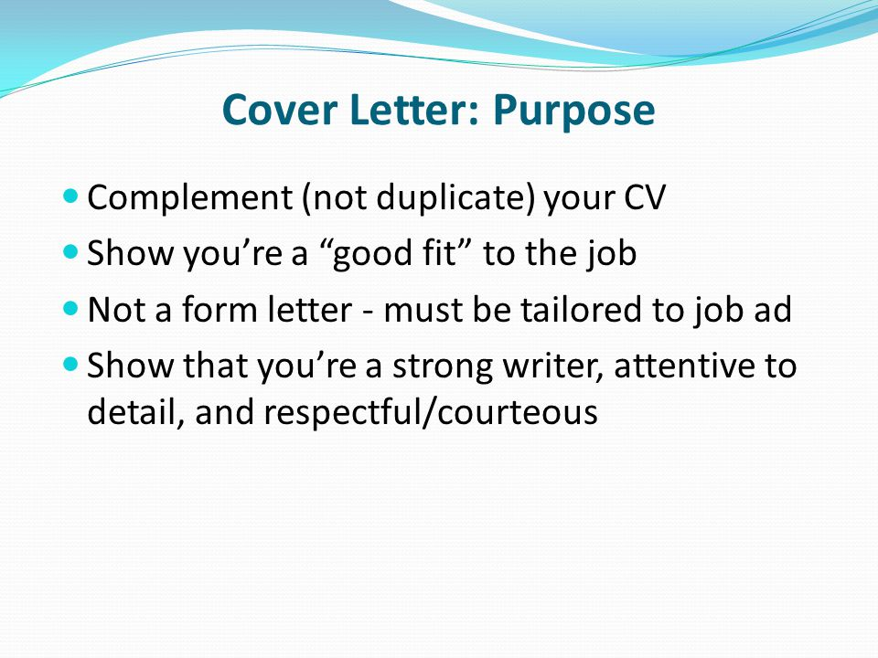 cover letter purpose job