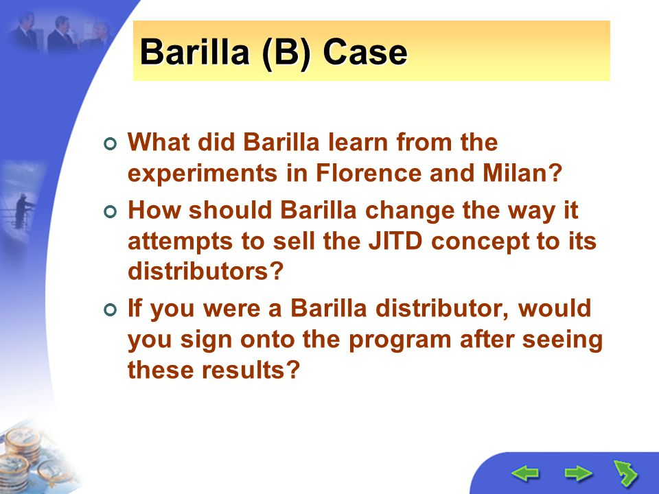 barilla pasta and jitd program Further, they are right to work with distributors to fight against the dangerous jitd program maggiali must be shown the light regarding the manufacturing process, or shown the door the only way to fix barilla's problem is a new manufacturing process.