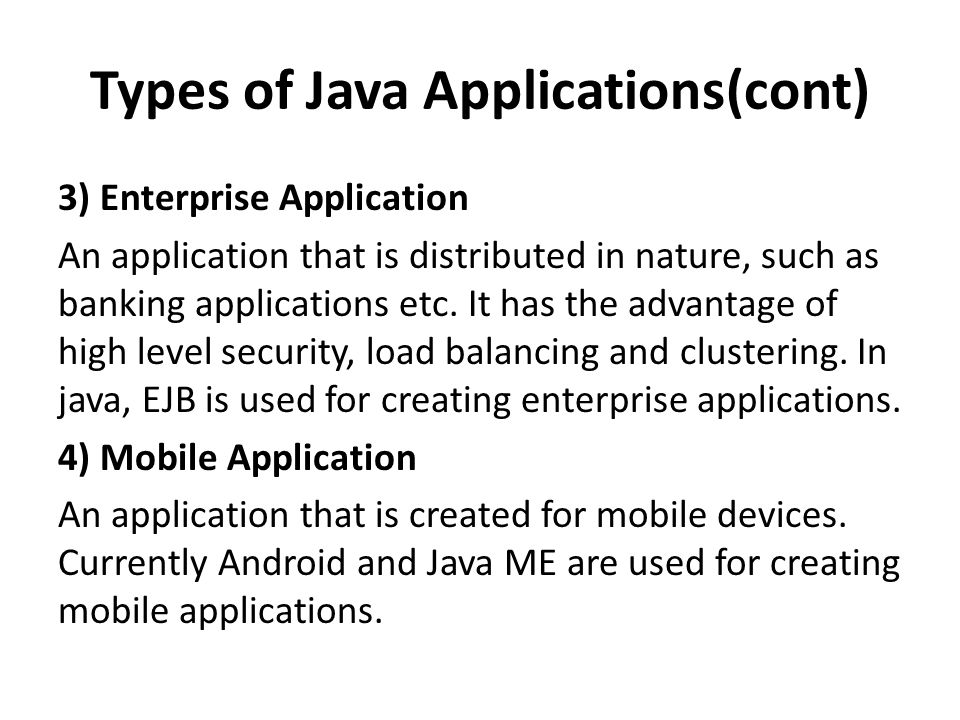 Java program ppt video online download types of java applicationscont ccuart Choice Image