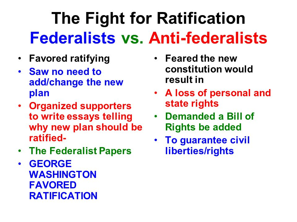 comparing and contrasting the anti federalist to federalist views on the ratification of the us Compare and contrast federalists and anti-federalists the federalists believed the federal government should be the primary decision maker and the states the secondary decision maker in matters of government.
