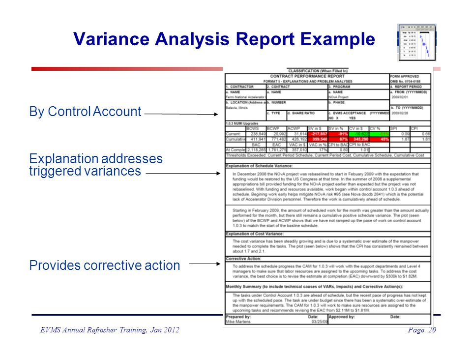 examples of corrective action in budget variance Corrective action recommendation for material management in material management, cost variance, corrective action control the purpose of project cost control is to get the early detection of any possibility of cost variance from the budget (cost overrun) so that corrective actions.