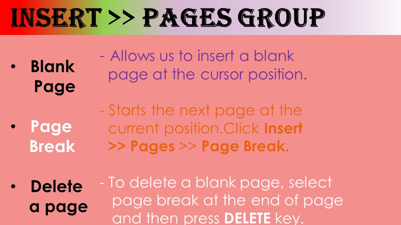 How To Add A Page Break In A Word Document 38 Insert Pages Group