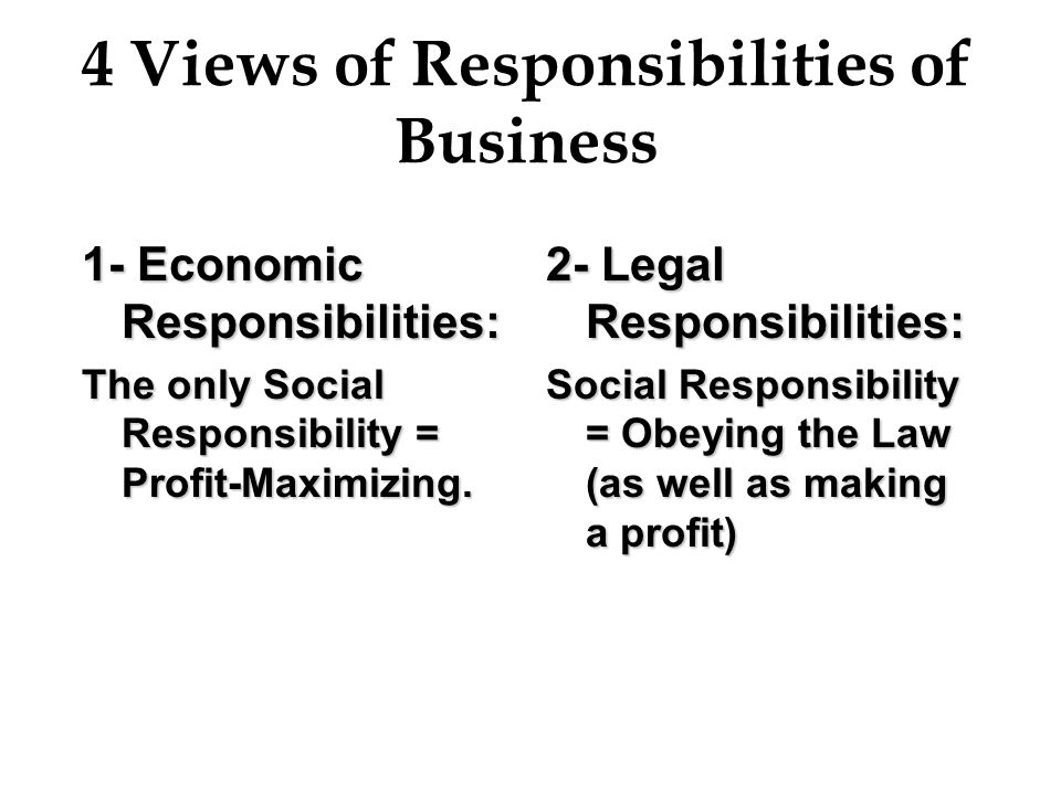 4 Views of Responsibilities of Business