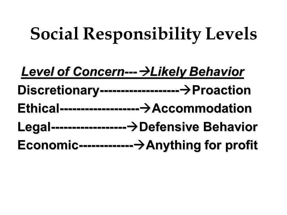 Social Responsibility Levels