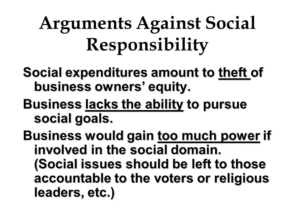 Arguments Against Social Responsibility