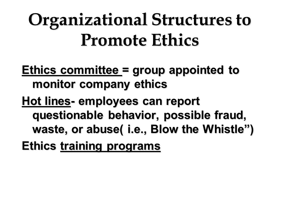 Organizational Structures to Promote Ethics