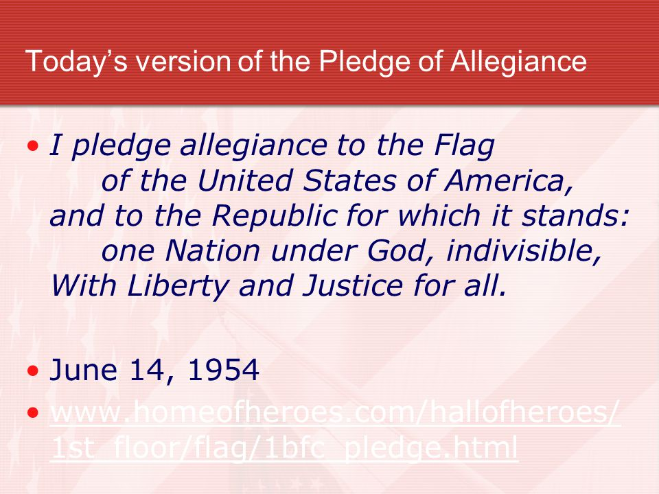 Today's version of the Pledge of Allegiance