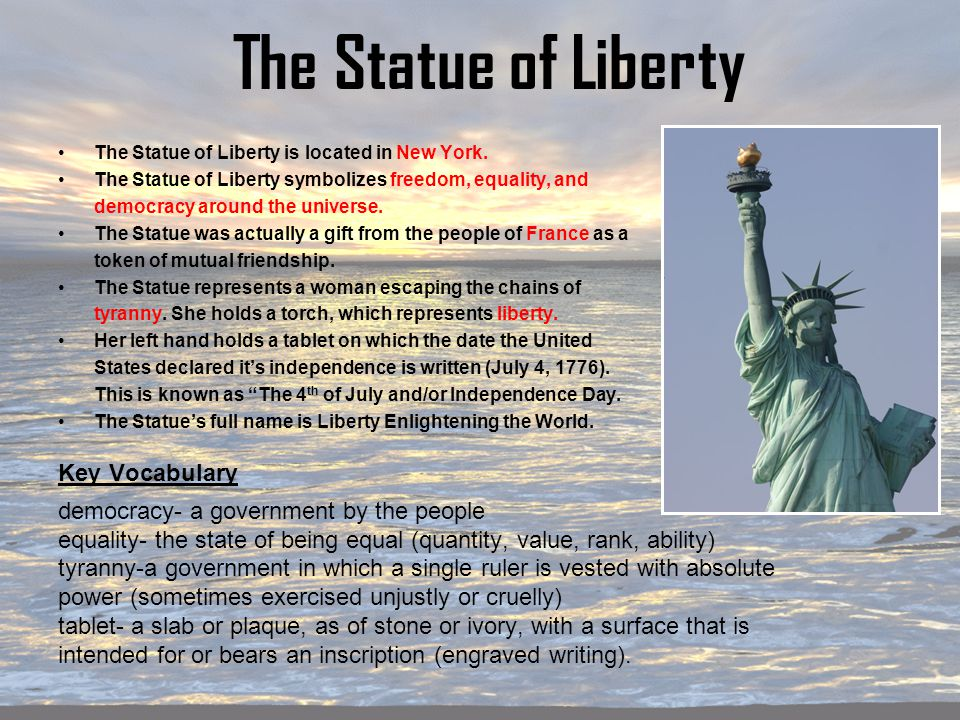 """an analysis of the inscription found on the statue of liberty Statue of liberty (image credit: auer1816 [flickr]) a stunning photo of the  he  founded a group called the franco-american union, comprised of  an inquiry  into the history and meaning of bartholdi's liberté éclairant le monde  in the  statue's left hand to tablets inscribed july iv, mdcclxxvi"""" (july 4,."""