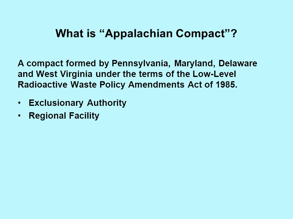 What is Appalachian Compact