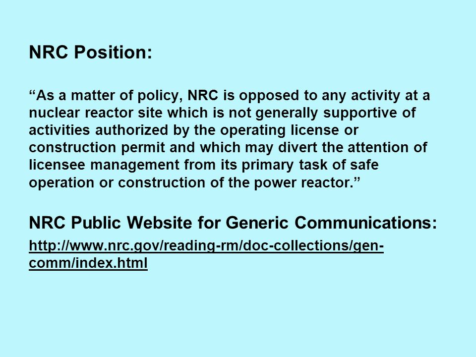 NRC Position: NRC Public Website for Generic Communications: