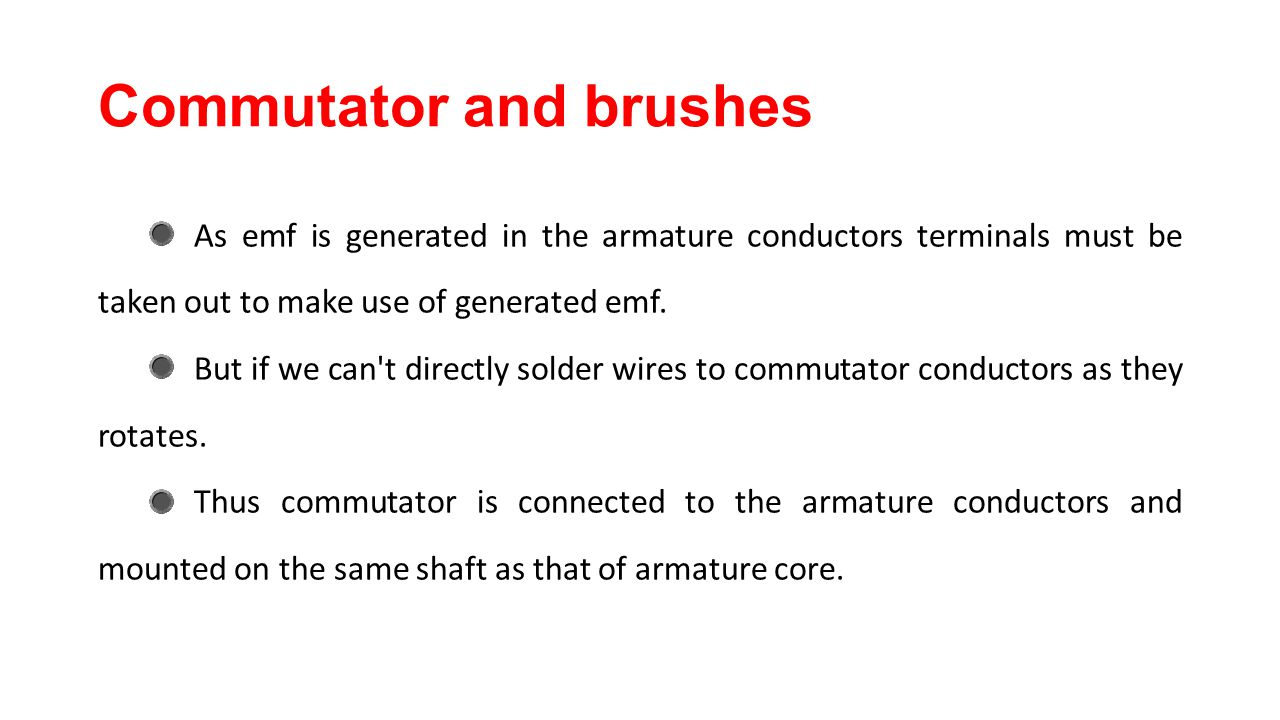 Commutator and brushes