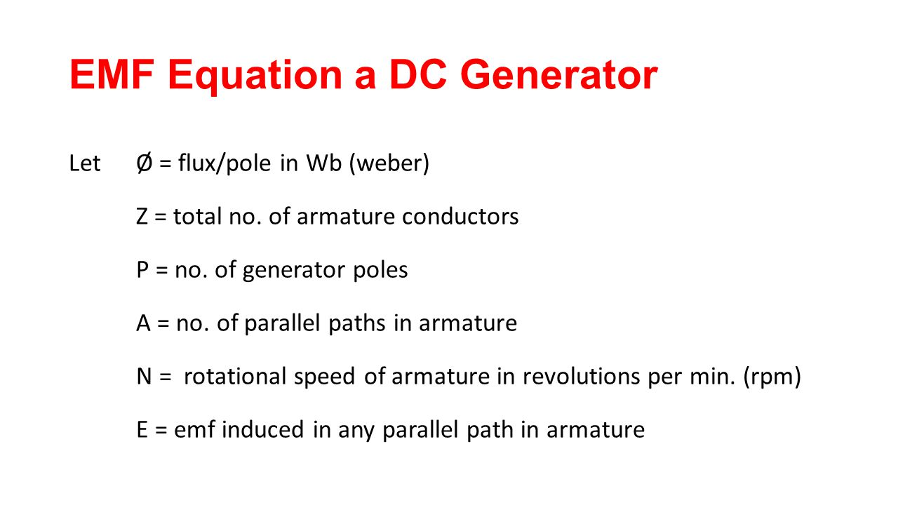 EMF Equation a DC Generator