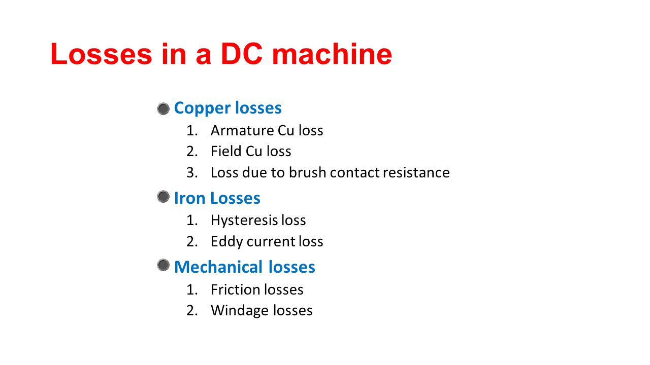 Losses in a DC machine Copper losses Iron Losses Mechanical losses