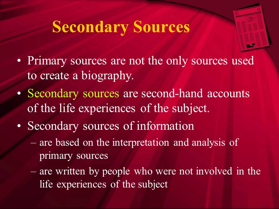 Outline the sources of secondary data