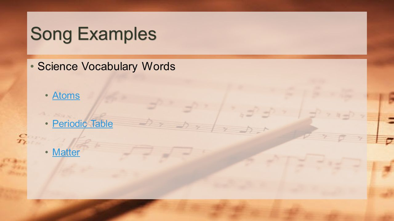 Using music and rhythm to improve vocabulary ppt video online 8 song examples science vocabulary words atoms periodic table matter gamestrikefo Gallery