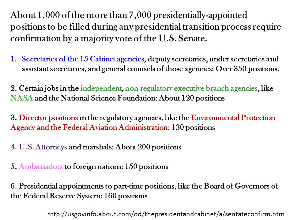 About 1,000 Of The More Than 7,000 Presidentially Appointed Positions To Be  Filled During Any