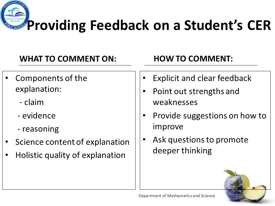 Providing Feedback on a Student's CER