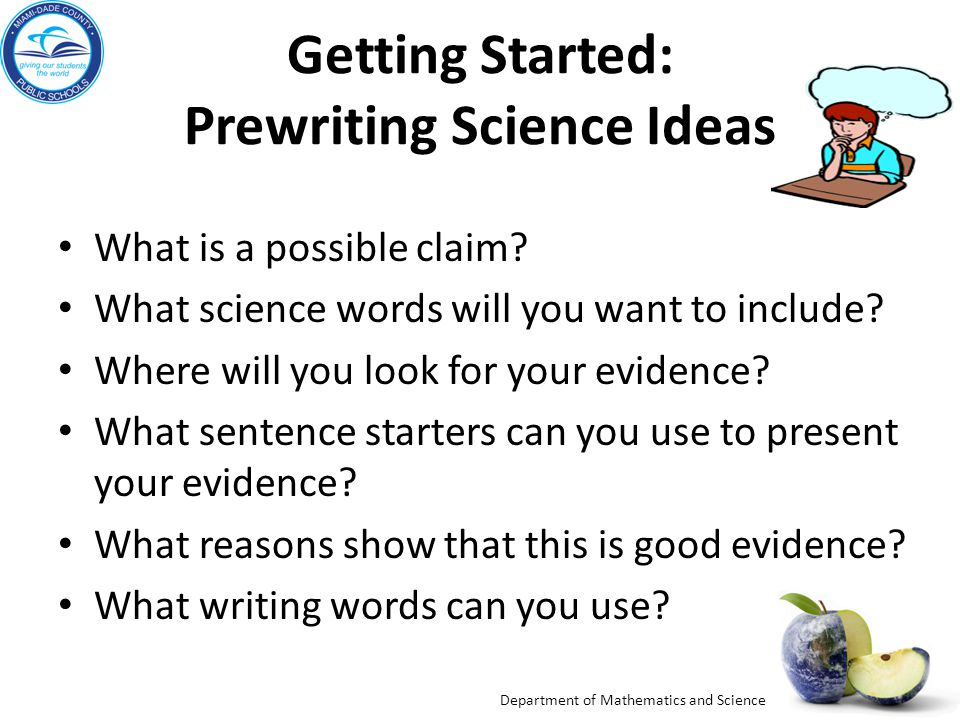 Getting Started: Prewriting Science Ideas