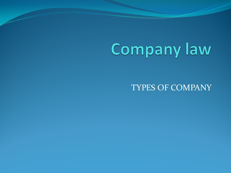 Company law TYPES OF COMPANY