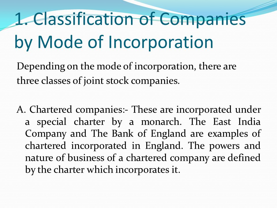 1. Classification of Companies by Mode of Incorporation