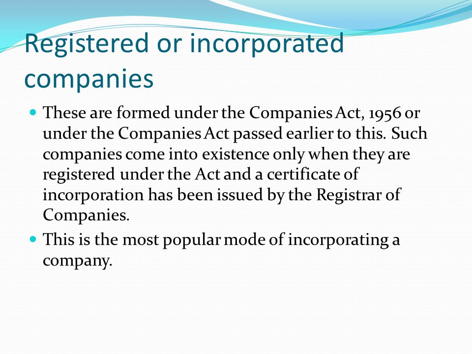 Registered or incorporated companies